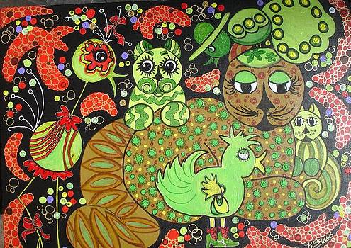 Whimsical Felines III by Kathleen Bellows