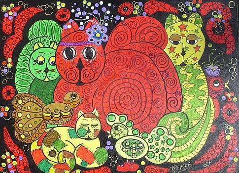 Whimsical Felines V by Kathleen Bellows