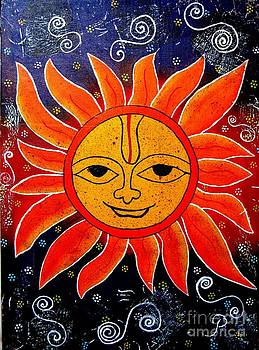 Whimsical Painting-Whimsical Sun God by Priyanka Rastogi