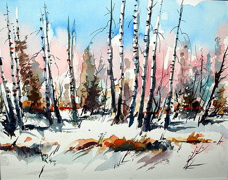 White Birch in Gentle Snow by Wilfred McOstrich