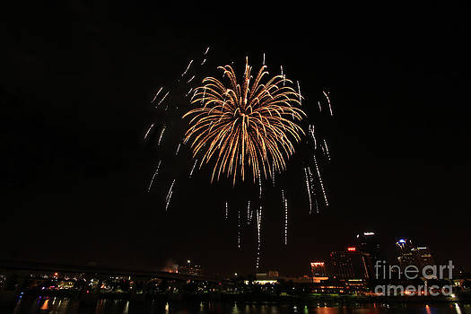 White Fireworks on the River by NaDean Ribitzki