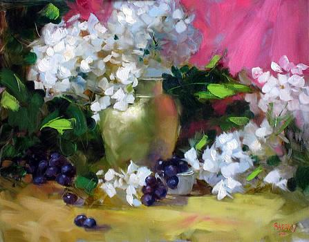 Chris  Saper - White Hydrangea and Golden Vase