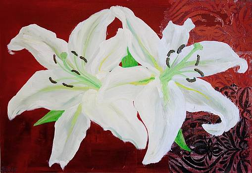 White Lilies on Red by Samar Asamoah