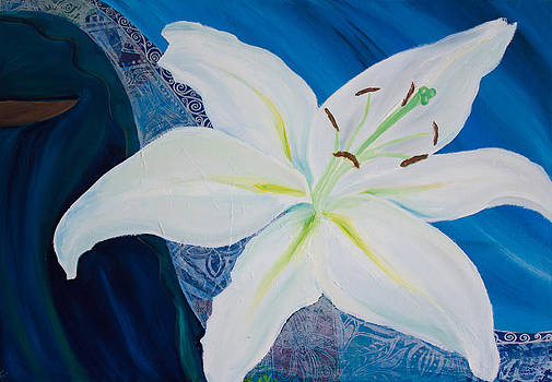 White Lily on Blue by Samar Asamoah
