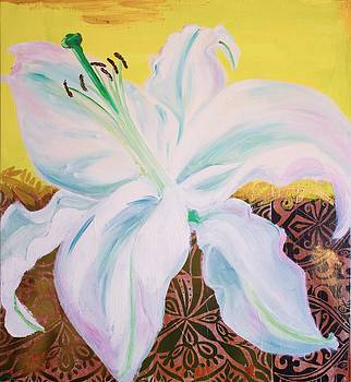 White Lily on Yellow by Samar Asamoah