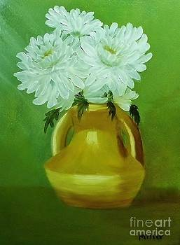 Peggy Miller - White Mums in gold vase