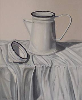 White Still Life with enamel pot by Pera  Schillings
