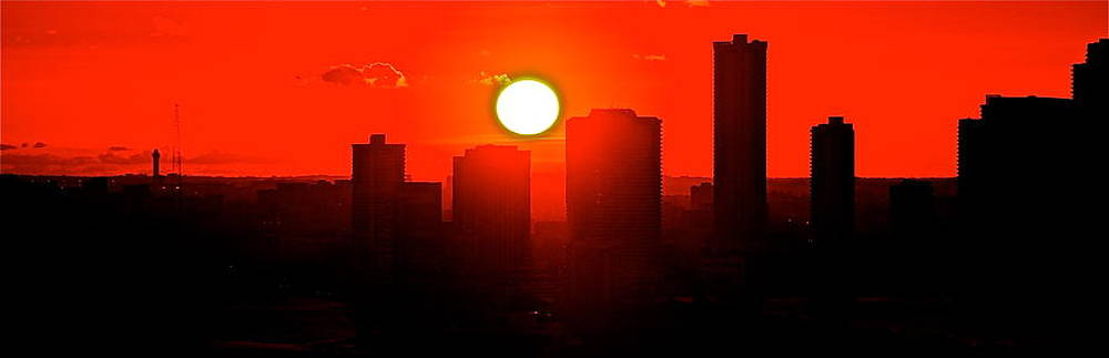wide sunset over Miami by Ronald  Bell