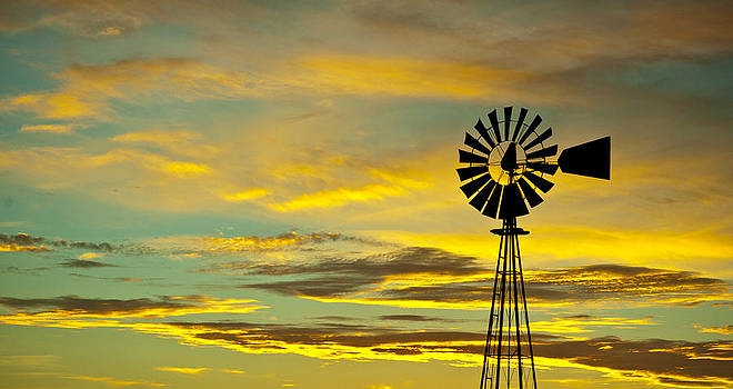Windmill sunset by Ray Downs