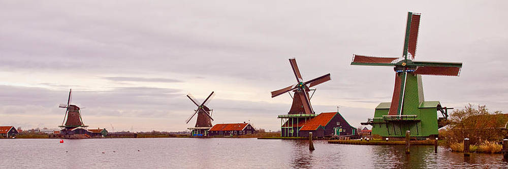 Windmills Of Zaanse Schans The Netherlands by Les Abeyta