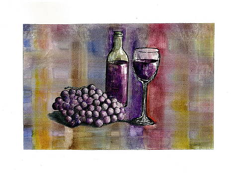 Wine Bottle  Glass and Grapes  by Jim  Romeo