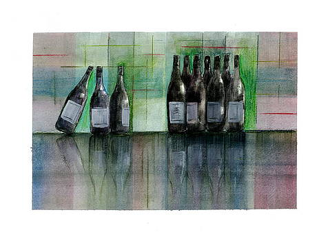 Wine Bottles With Reflection  by Jim  Romeo