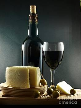 Wine Cheese and Olives by Alfredo Rodriguez