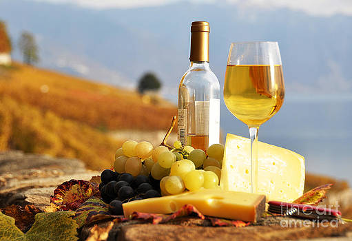 Wine grapes and cheese by Alexander Chaikin