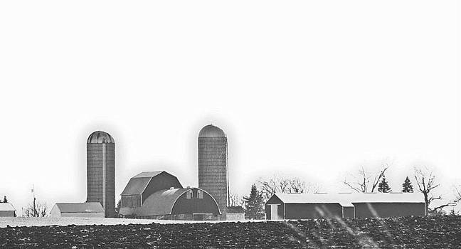 Wisconcin Farm In Black and White by Victoria Sheldon