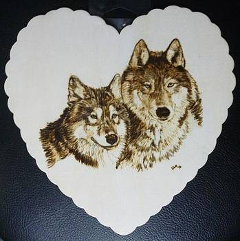 Wolves Pyrographic Wood Burn Heart Original 7.5 x 7.5 inch by Shannon Ivins