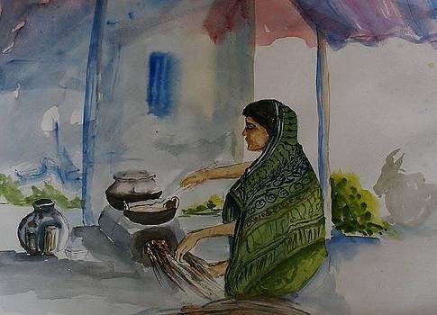 Woman cooking - unfinished by Shashikanta Parida
