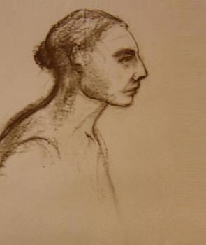 Woman Profile in Brown by Nancy Berkan