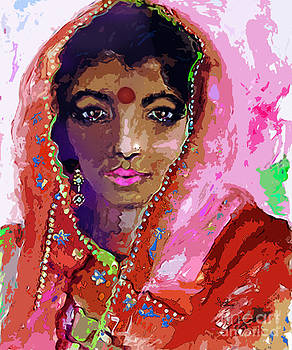 Ginette Callaway - Woman with Red Bindi Indian Beauty