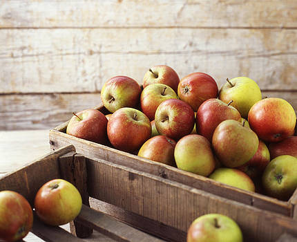 Wooden Crates Of Organic Apples by Diana Miller