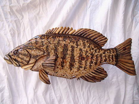 Wooden Small Mouth Bass number nine by Lisa Ruggiero