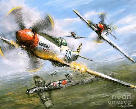 World War 2 P 51D Thisizit Checkertails by Ondrej Soukup