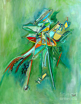 Contemporary Green Colorful Plane Abstract Composition by Marie Christine Belkadi