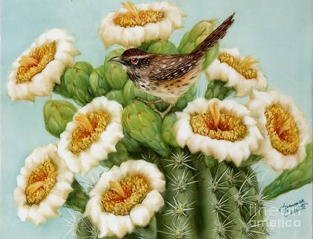 Wren and Saguaro Blossoms  by Summer Celeste