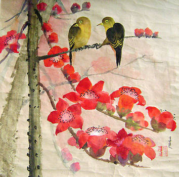 Yellow Bird On Red Floral Treee by Lian Zhen