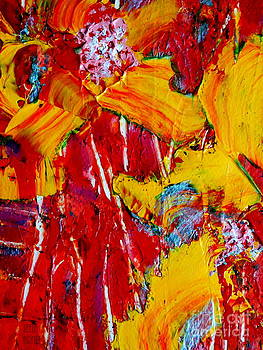 Yellow Flowers On Red by Leela Arnet