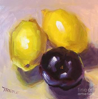 Yellow Lemons and Plum Print by Patti Trostle