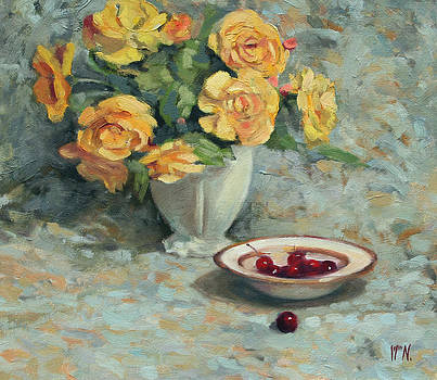 Yellow Roses and Cherries by William Noonan