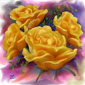 Yellow Roses Floral Art by Judy Filarecki