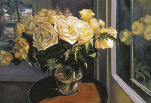 Yellow Roses in a Glass Vase by Mary Gingrich