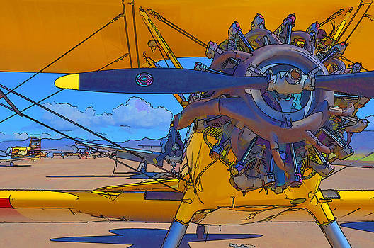 Yellow Stearman Airplane by Betsy Aguirre