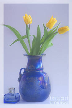 Yellow Tulips and Blue Glass by George Hodlin