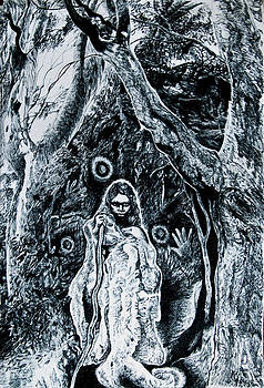 Young Aboriginal Woman and River Red Gum by Helen Duley