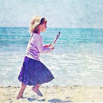 Young Beachcomber #girl #feather #beach by Denise Taylor