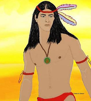 Young Cherokee male by Evelyn O Simon