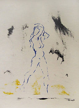 Young Female Nude in Agony While Running from Her Thoughts in Blue Yellow Black Serigraph Monoprint by M Zimmerman