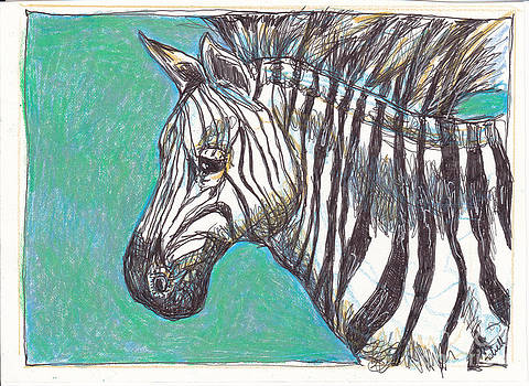 Zebra Postcard by Michele Hollister - for Nancy Asbell