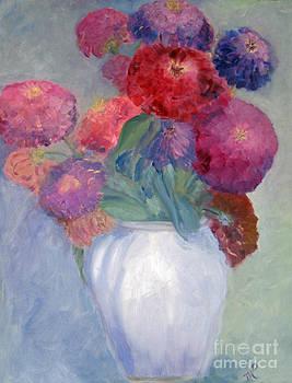 Zinnias In A White Vase by Marlene Petersen