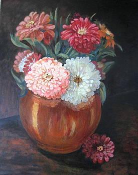 Zinnias by Vera Rodgers