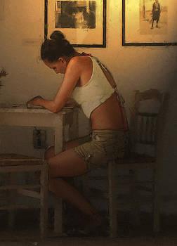 Girl writting by Pavlos Vlachos