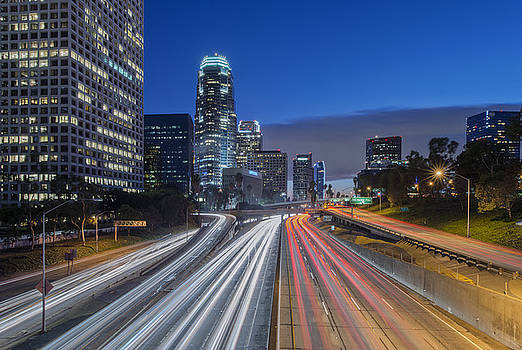 110 Freeway & Downtown Los Angeles by Rob Tilley