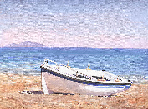 Boat on Samos beach by Maureen Carter