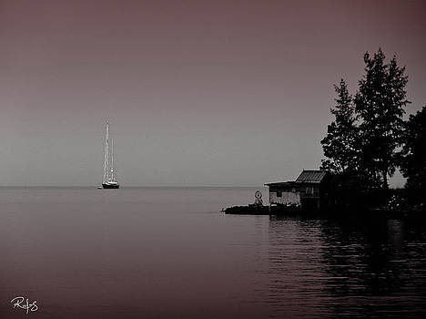 Anchored near a Temple - Black and White by Allan Rufus