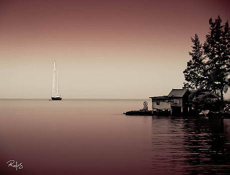 Anchored near a Temple - Tint on red by Allan Rufus