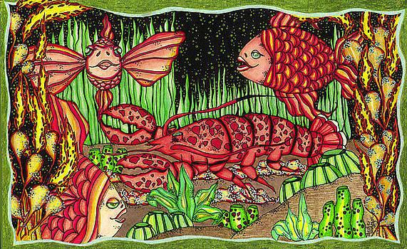 Angel Fish and Lobster by Dede Shamel Davalos