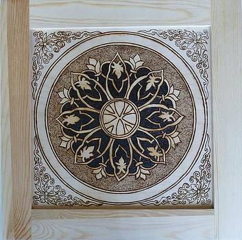 Antique Asian Style Framed Pyrographic Original Wood Panel by Pigatopia by Shannon Ivins
